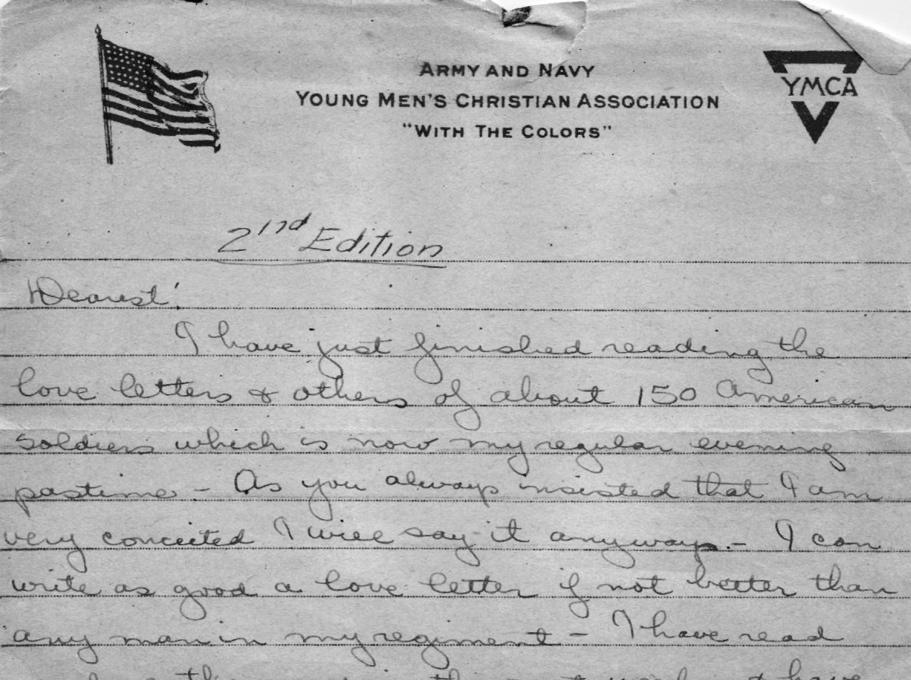 """I can write as good a love letter as any man in my regiment,"" Lolo writes to his wife after he arrives in France."