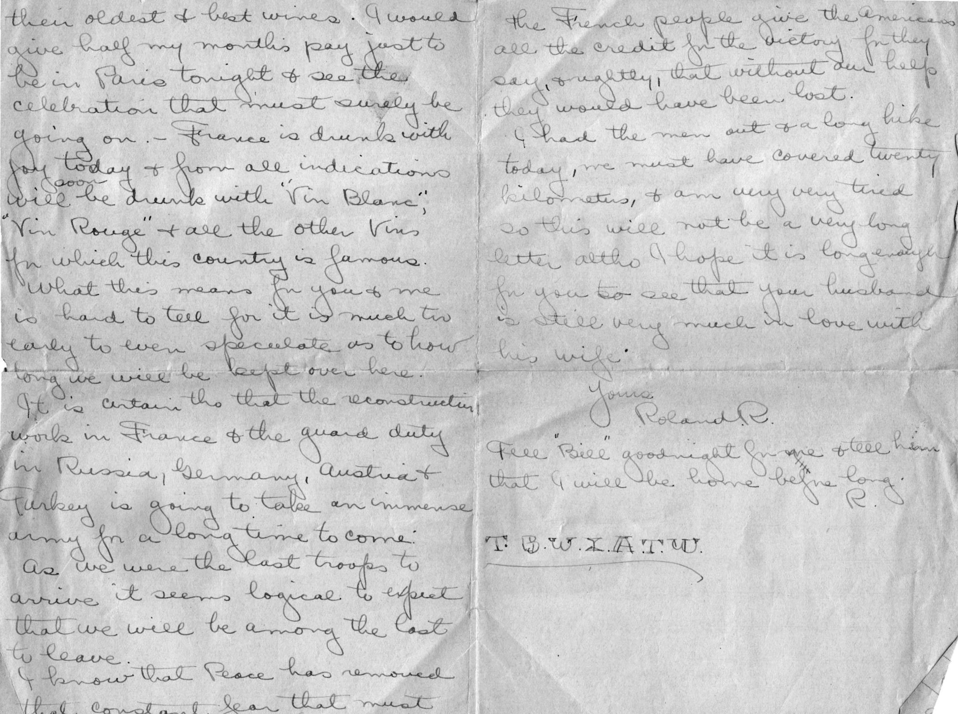 A letter from Lolo to his wife on Nov. 11, 1918, describing celebrations all over France on Armistice Day.
