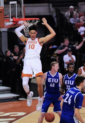 Texas Longhorns forward Jaxson Hayes (10) dunks during a game against the Eastern Illinois Panthers on November 6, 2018 at the Frank Erwin Center in Austin, TX.