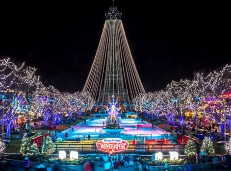 Kings Island guests can ice skate on International Streets Royal Fountain during Winterfest beginning Nov. 23.