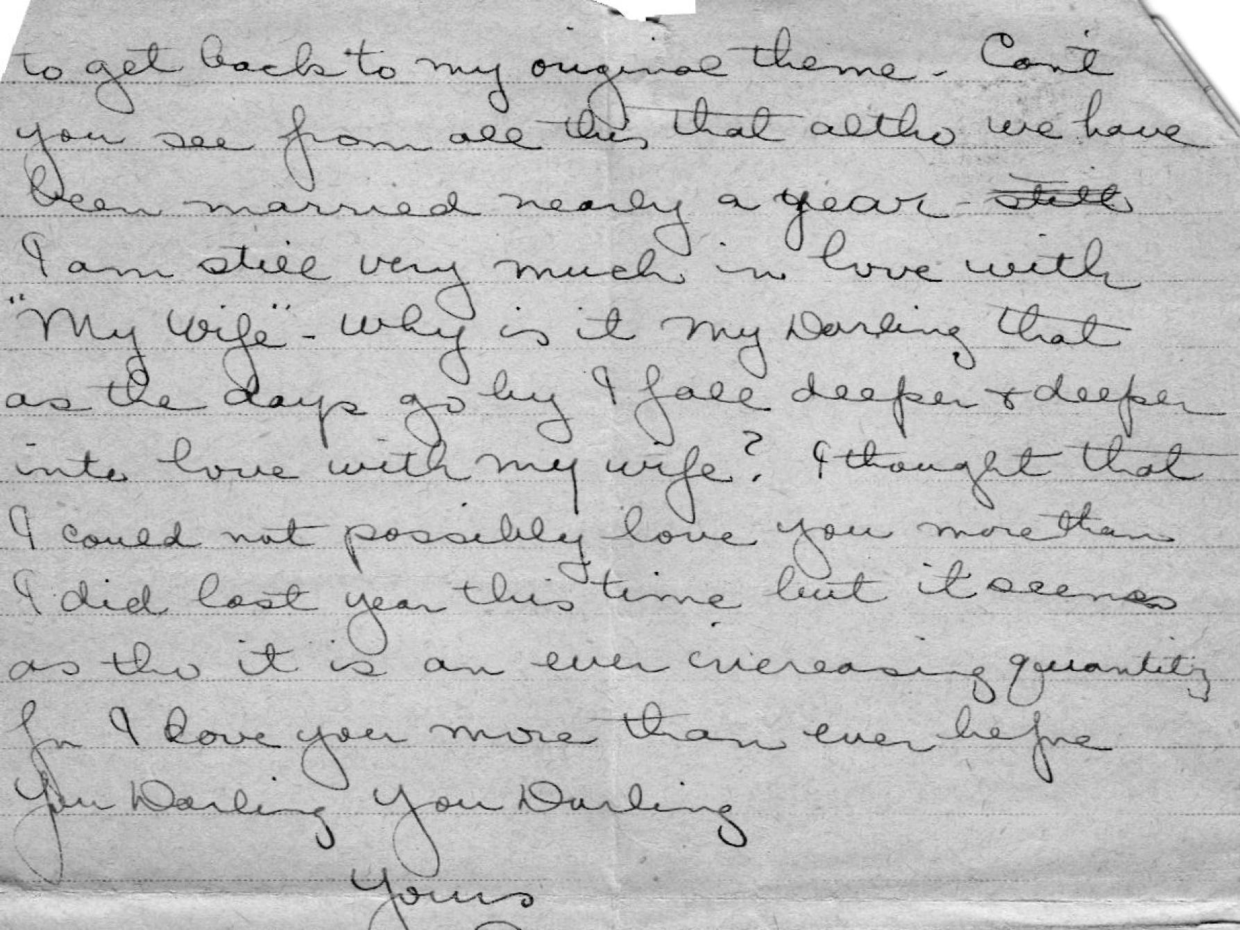 Page 4 of a letter to his wife on Nov. 17, 1918, in which Lolo writes about how much he misses his wife, how much he loves her and how he can't wait to meet his newborn son.