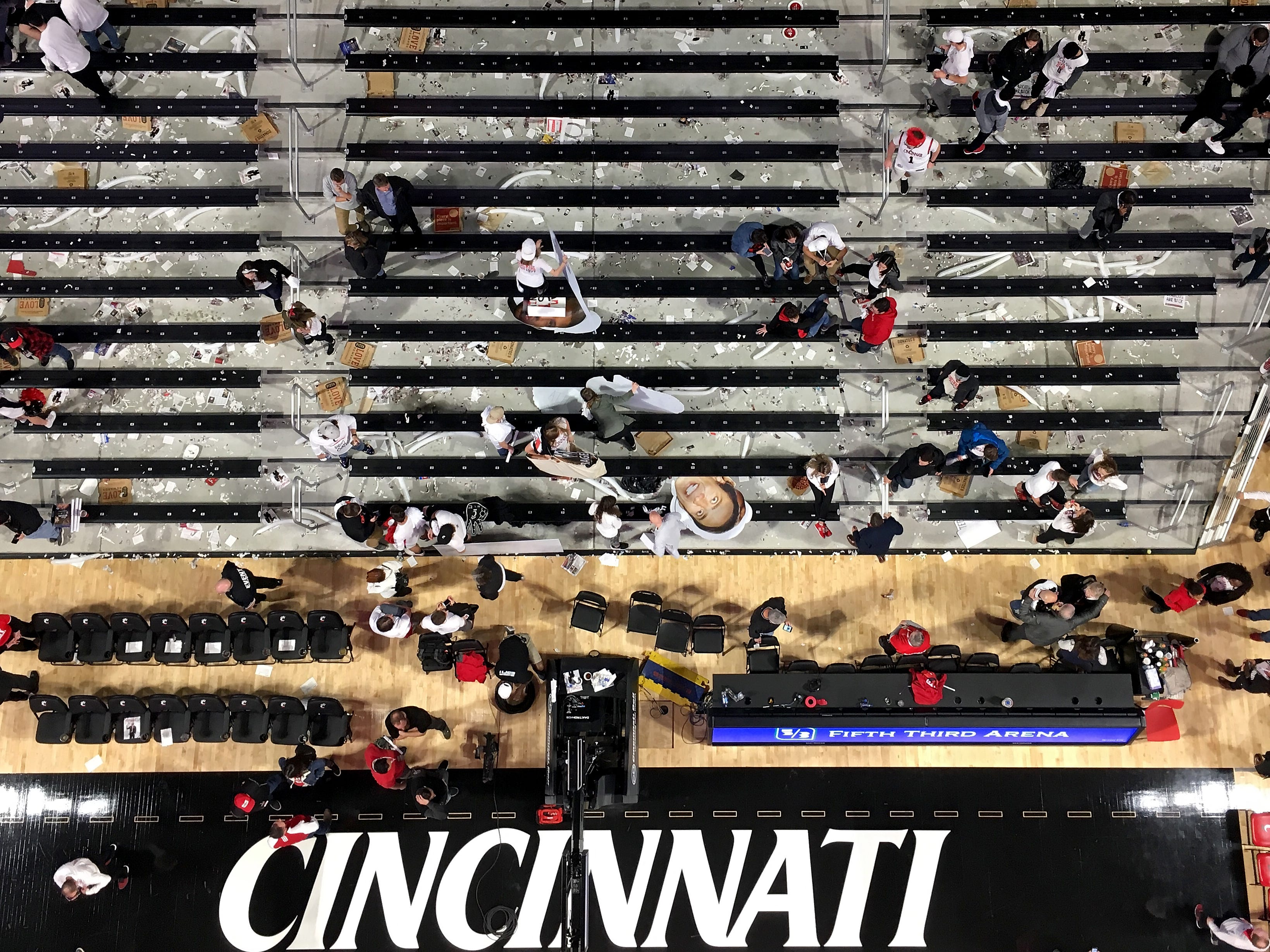 The Bearcats student section clears out after the NCAA basketball game between the Cincinnati Bearcats and the Ohio State Buckeyes at Fifth Third Arena in Cincinnati on Wednesday, Nov. 7, 2018. The Bearcats opened the season 0-1 with a 64-56 loss the Ohio State.