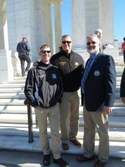 On Nov. 1, Kevin Donovan (right) of Linden joined his fellow Tomb of the Unknown Soldier Sentinels Steve Massey (left) and Lonny LeGrand Jr. (center) for a reunion hosted by the Society of the Honor Guard, Tomb of the Unknown Soldier.