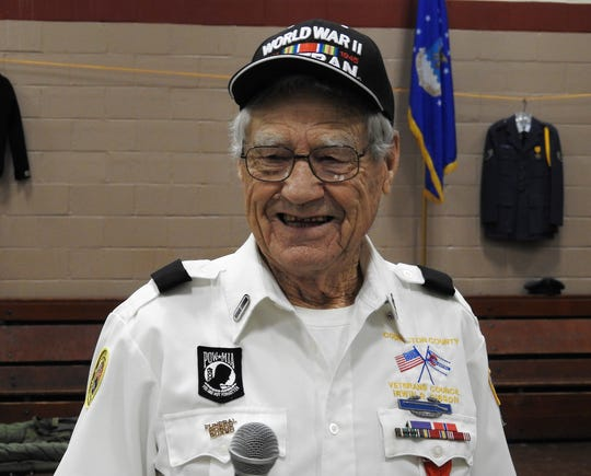 """Irwin R. """"Gibby"""" Gibson spoke on Thursday at a Veterans Day ceremony held at the Coshocton Salvation Army."""