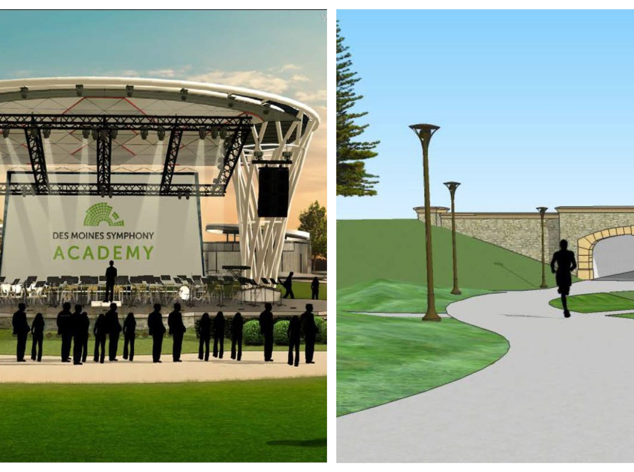 4. The new amphitheater at Water Works Park is set to open in the summer (left). Construction on the tunnel connecting Water Works Park to Gray's Lake under Fleur Drive is also expected to start (right).