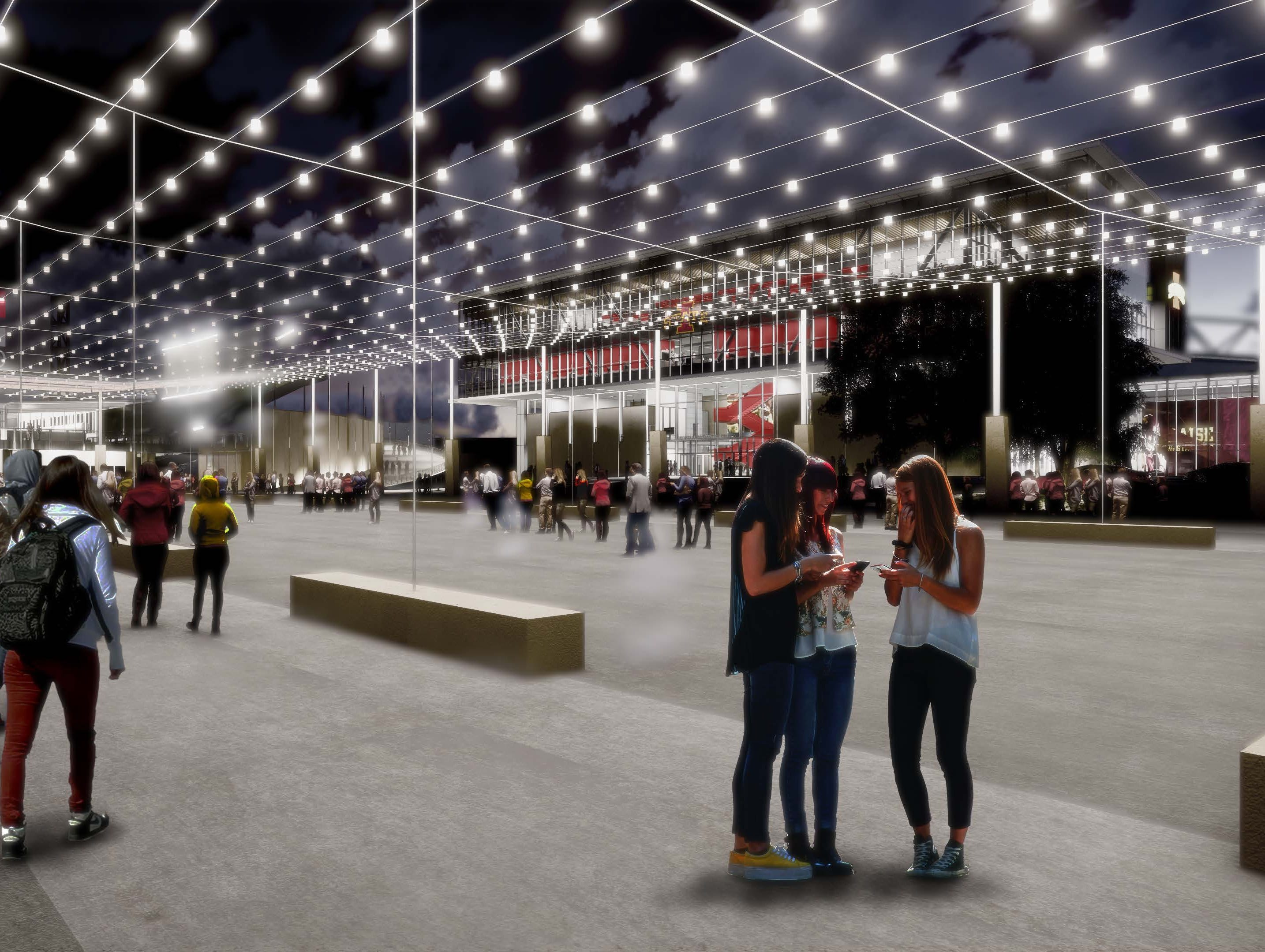 Iowa State released renderings Thursday for sports performance center and lighted plaza.