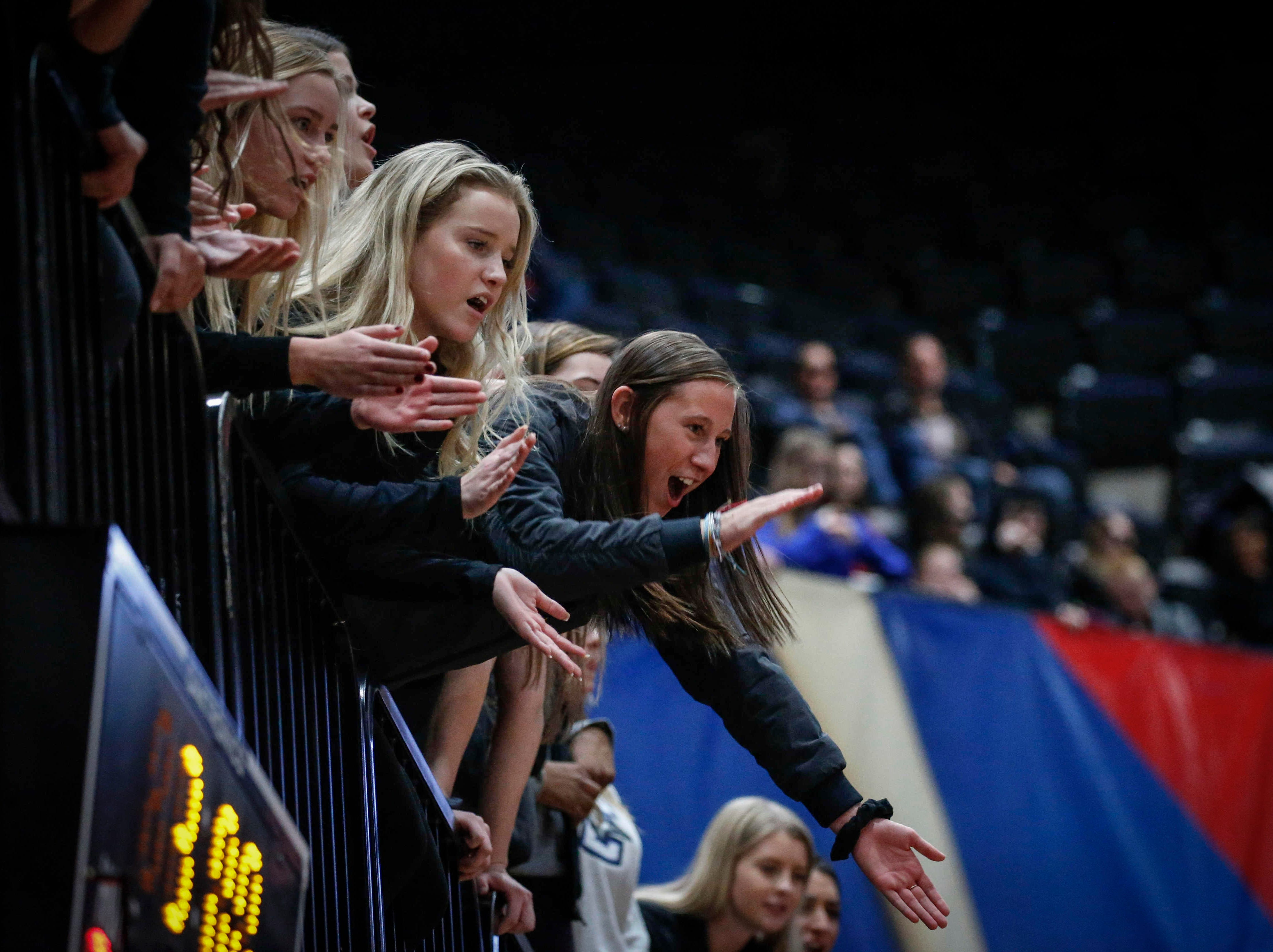 Valley fans cheer as the Tigers hold on to force a fifth set against Ankeny Centennial in Class 5A during the 2018 Iowa High School state volleyball tournament on Thursday, Nov. 8, 2018, in Cedar Rapids.
