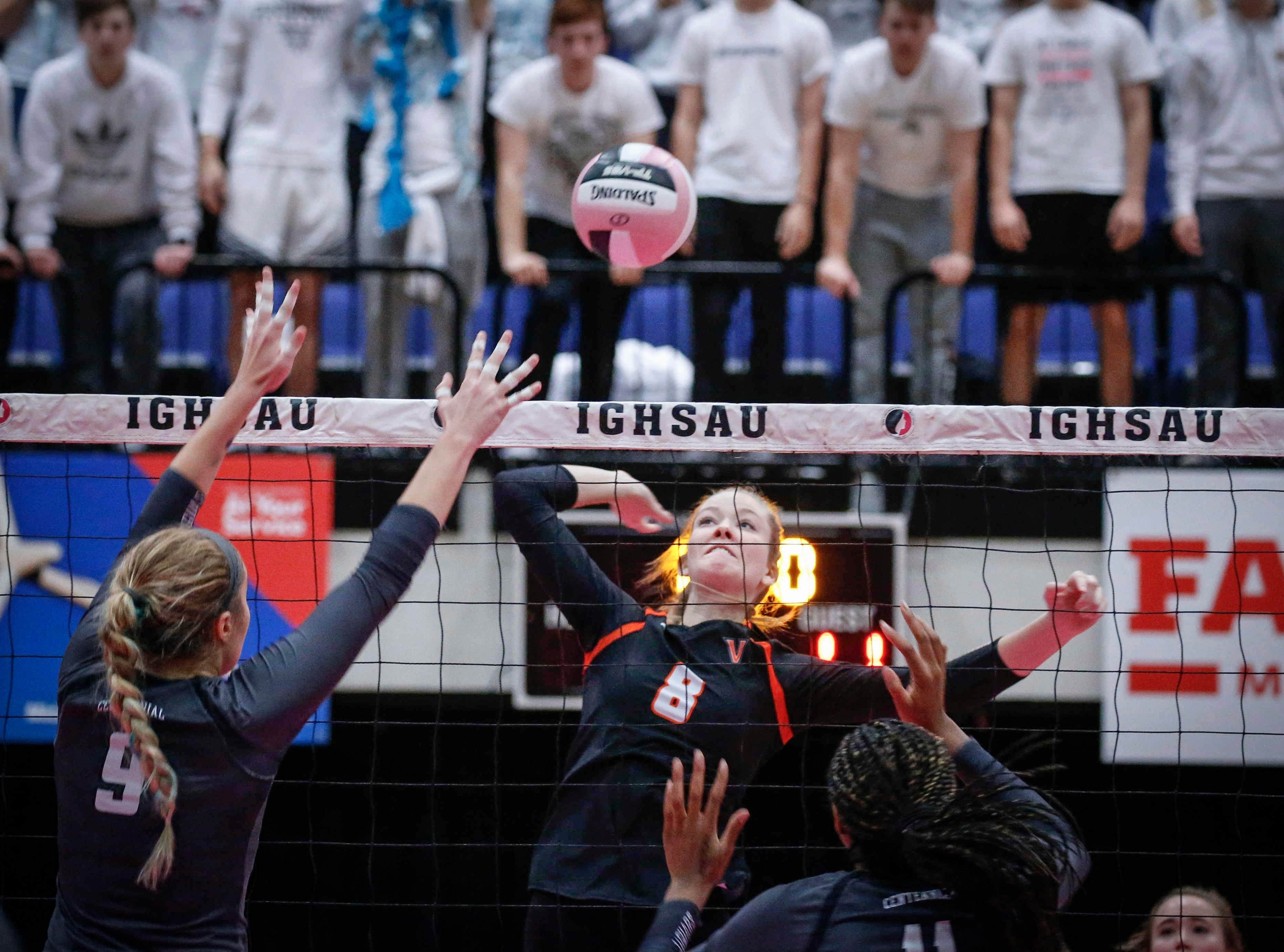 West Des Moines Valley's Allison Blythe hits the ball over the net against Ankeny Centennial during the 2018 Iowa High School state volleyball tournament on Thursday, Nov. 8, 2018, in Cedar Rapids.