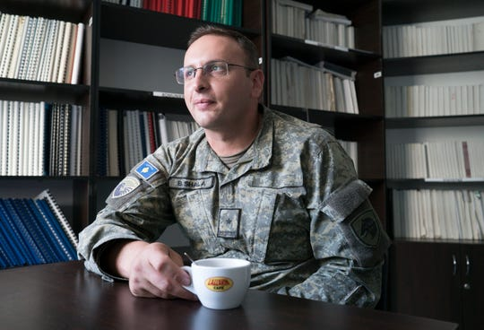 Maj. Berat Shala with the Kosovo Security Force at their base in Pristina, Kosovo, Sept. 18, 2018, in Kosovo.