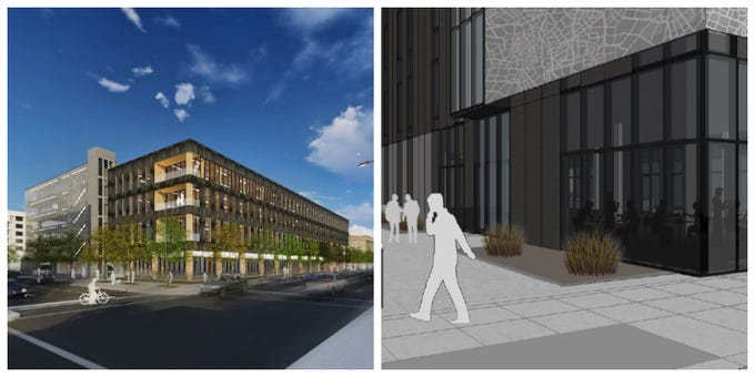 1. Downtown Des Moines will see international design features in the mass timber building at 111 E. Grand (left) and architecture inspired a famous German architect at Miesblock (right).
