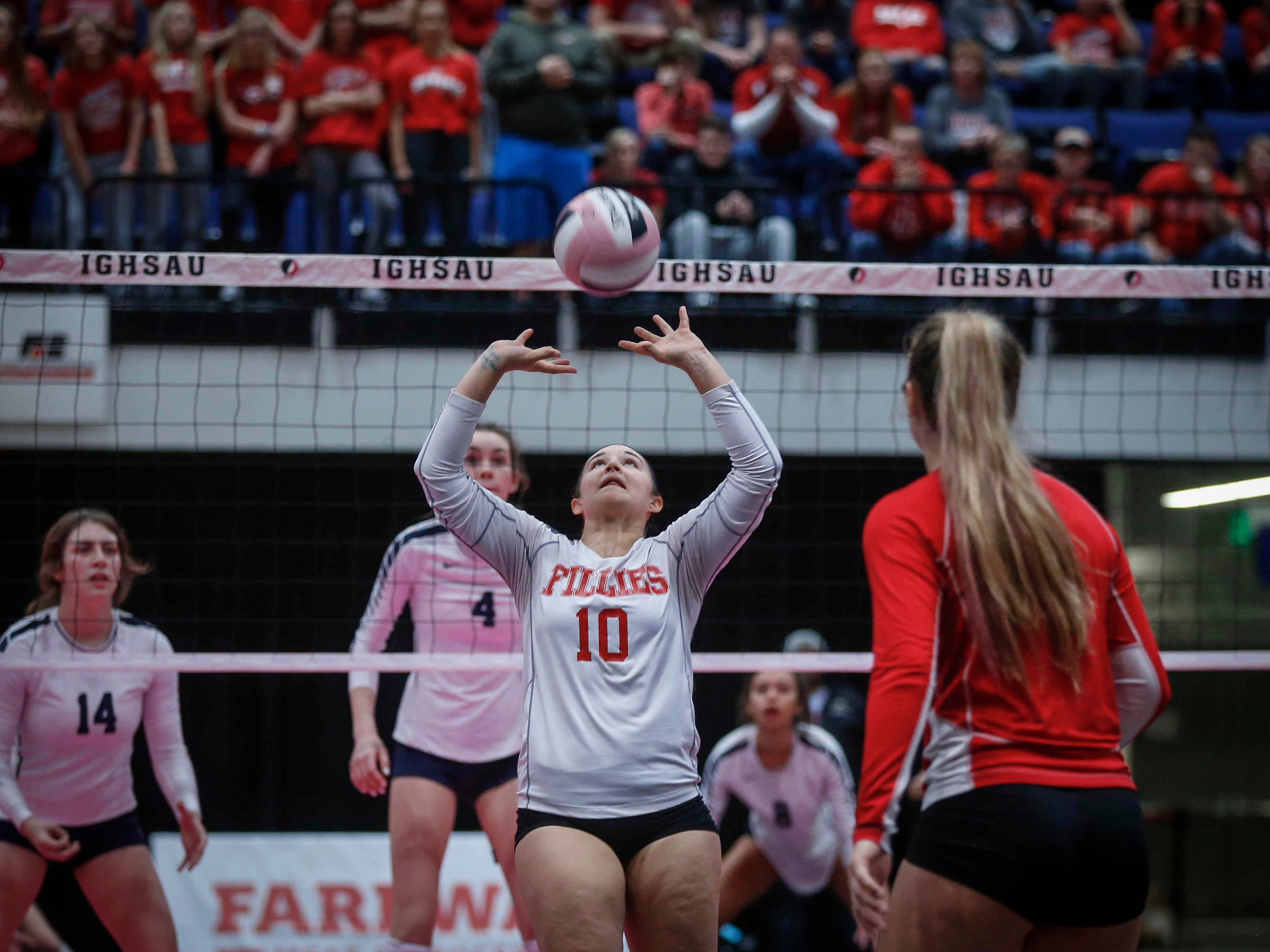 Dallas Center-Grimes junior Kamryn O'Brien sets the ball up against Cedar Rapids Xavier in Class 4A during the 2018 Iowa High School state volleyball tournament on Thursday, Nov. 8, 2018, in Cedar Rapids.