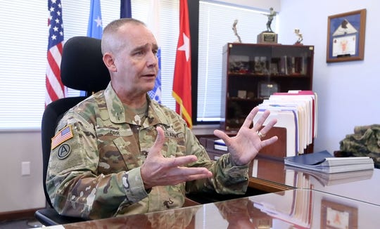 Maj. Gen. Timothy E. Orr, adjutant general of the Iowa National Guard, at his office in Johnston, Iowa, Oct. 15, 2018.