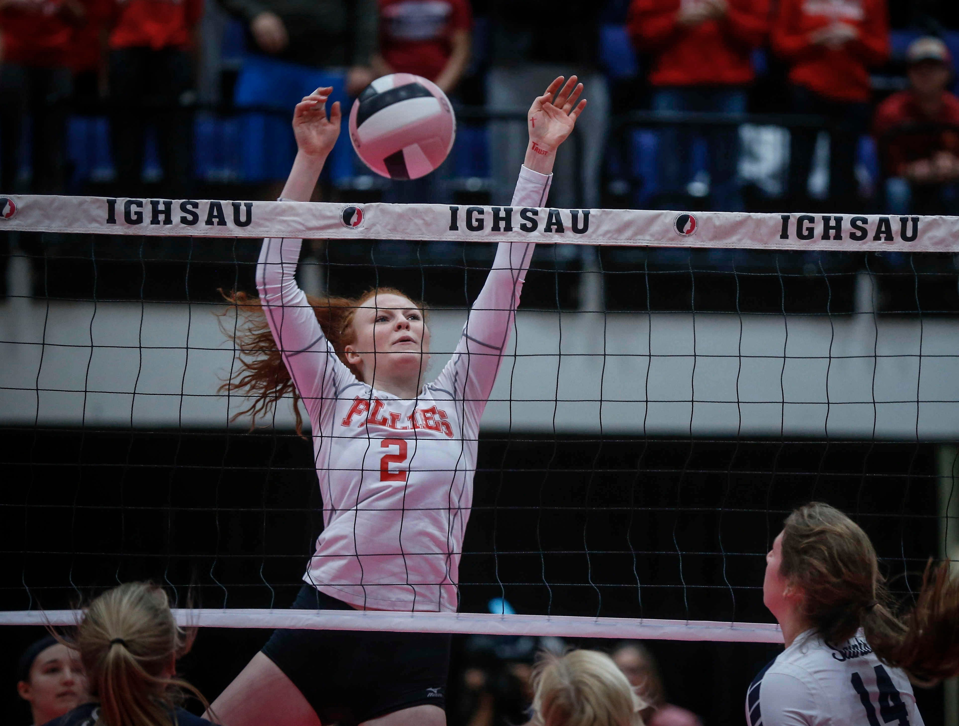 Dallas Center-Grimes senior Anny Greiman stops the ball at the net in Class 4A against Cedar Rapids Xavier during the 2018 Iowa High School state volleyball tournament on Thursday, Nov. 8, 2018, in Cedar Rapids.