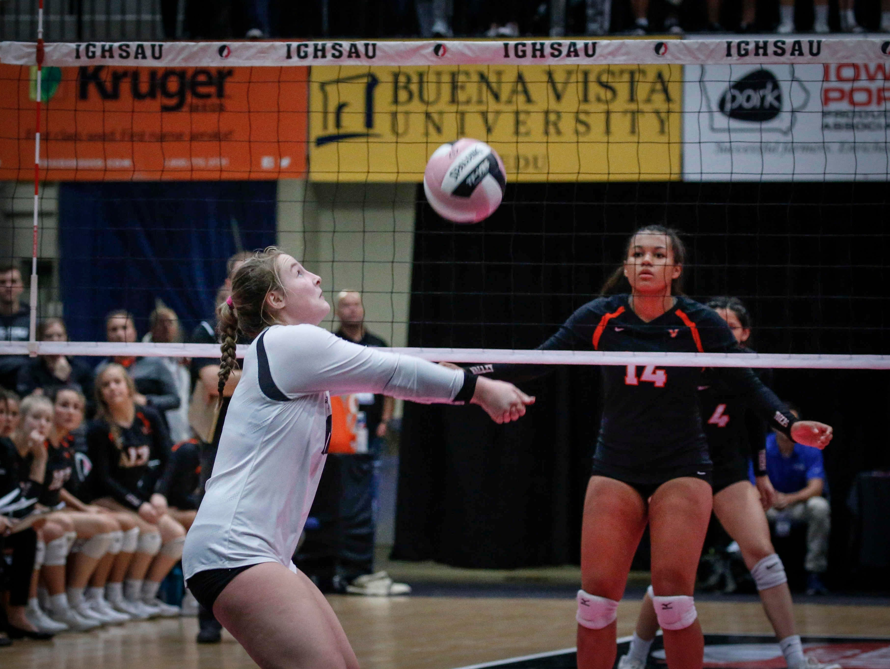 Ankeny Centennial's Josie Magner sets up a shot against Valley in Class 5A during the 2018 Iowa High School state volleyball tournament on Thursday, Nov. 8, 2018, in Cedar Rapids.