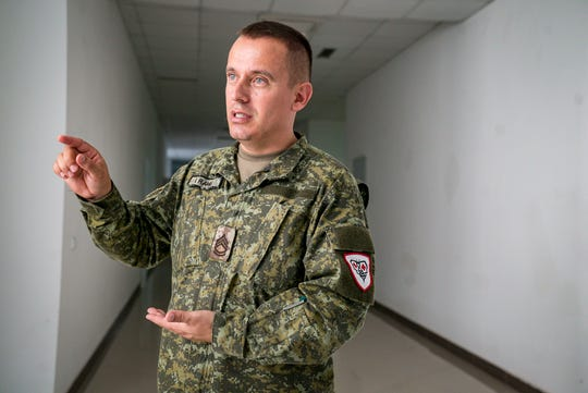 "KSF Maj. Sgt. Ilir Rama in the brand-new hospital building on the Kosovo Security Force's main base in Pristina, Kosovo, Sept. 18, 2018. ""In Kosovo, we do not have any medical military school,"" he said. "" For that, we need more training, (and) Iowa helps very much in that case."""