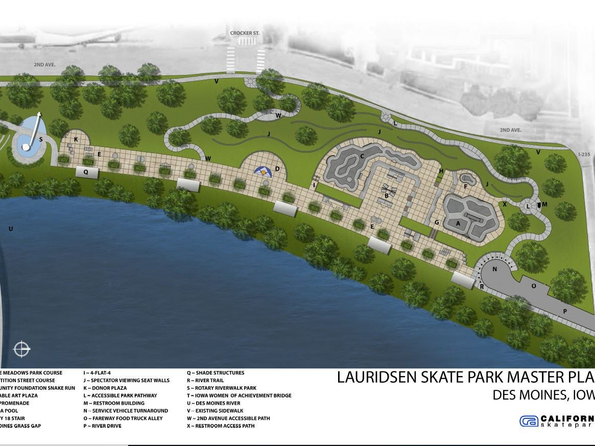 3. The Lauridsen Skatepark along the Des Moines riverfront should open in summer 2019.