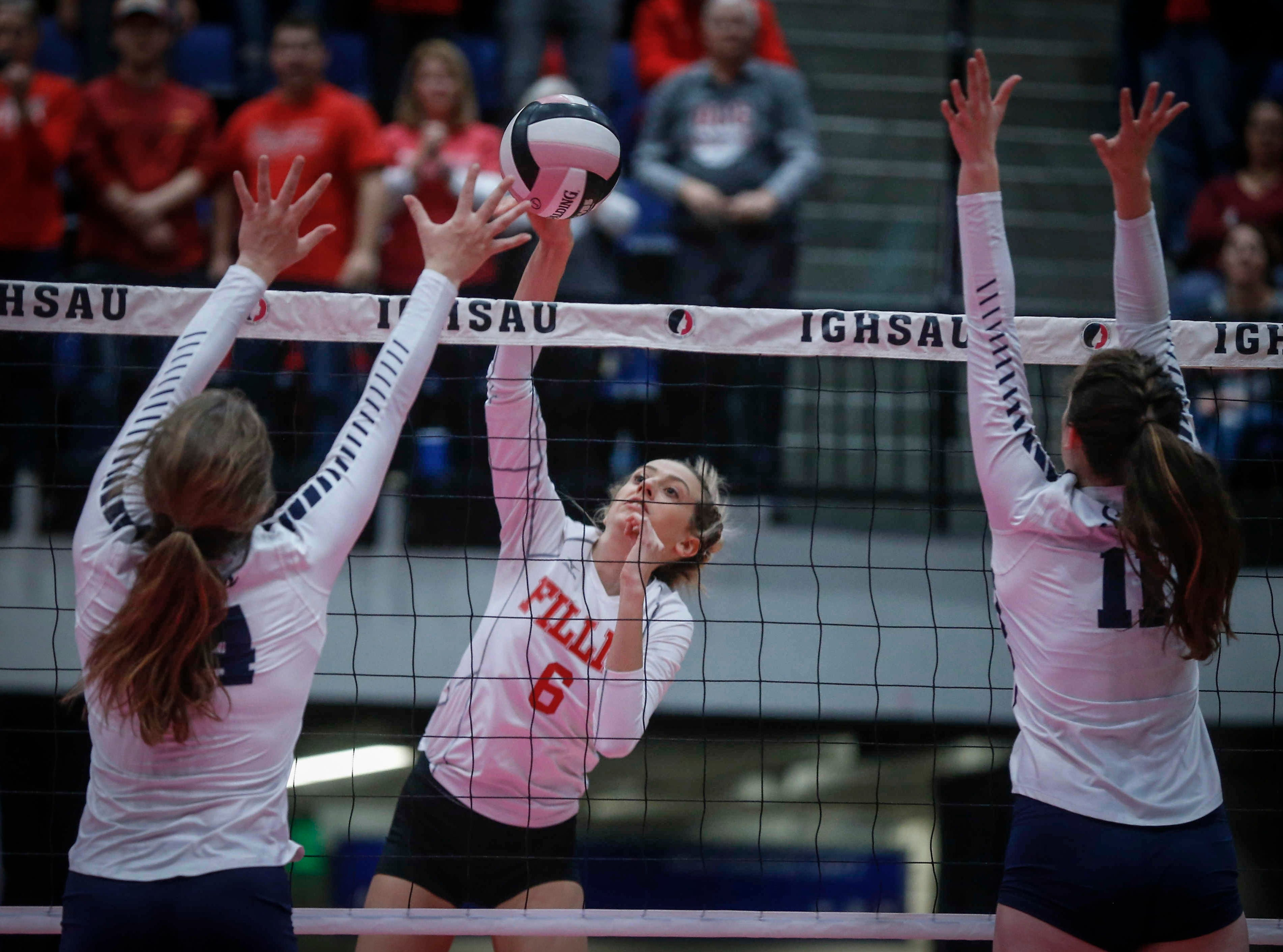 Dallas Center-Grimes senior Hannah Ashley knocks the ball over the net against Cedar Rapids Xavier in Class 4A during the 2018 Iowa High School state volleyball tournament on Thursday, Nov. 8, 2018, in Cedar Rapids.