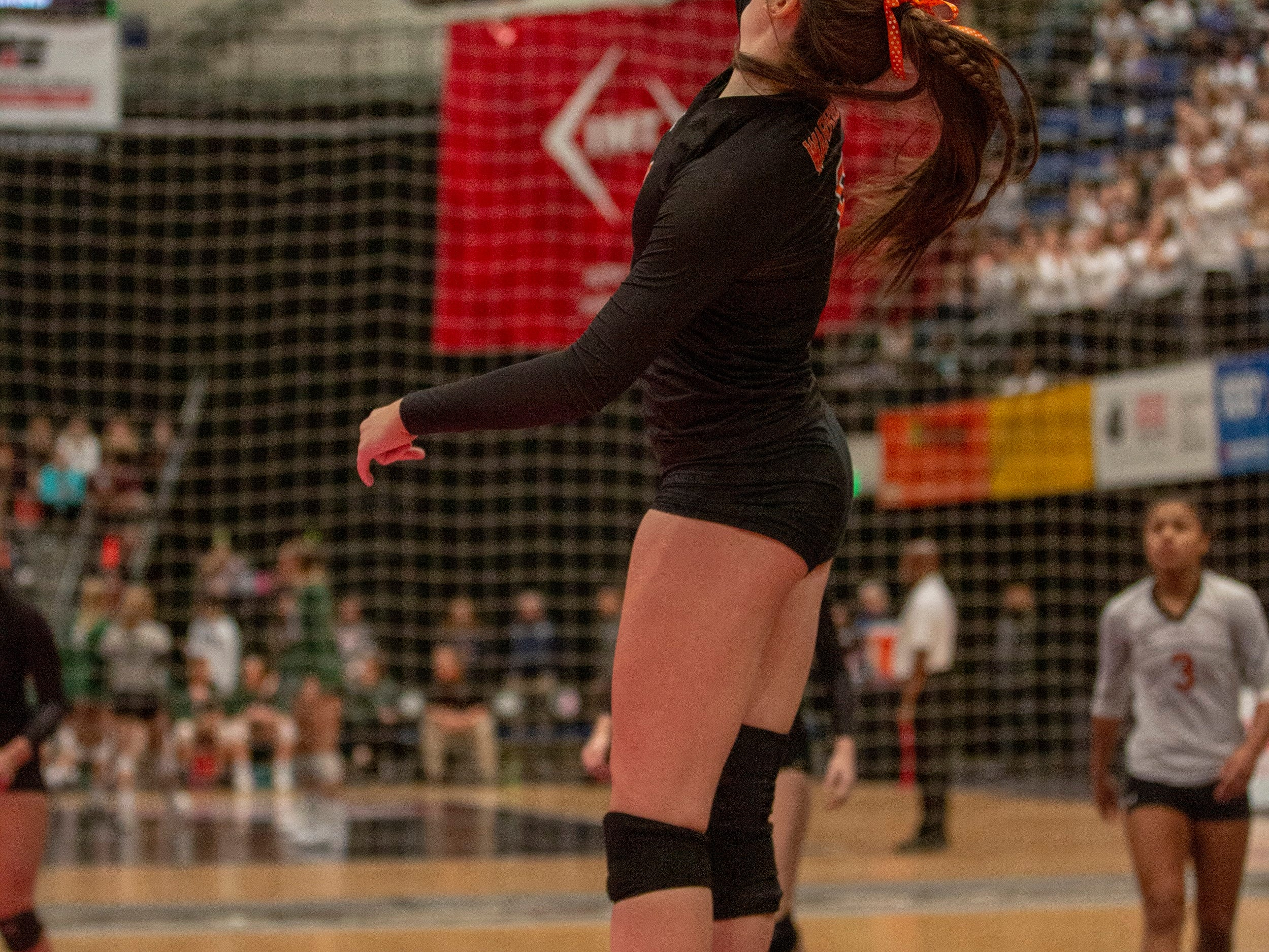Kenzie Foley of Sergeant Bluff-Luton attacks during  a quarterfinal match at the Iowa state volleyball tournament.