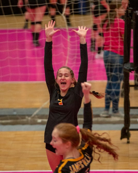 Janesville Alisa Bengen Celebrates A Point During Quarterfinal Action At The Girls High School Volleyball