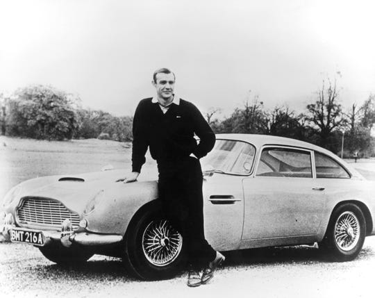 Aston Martin DB5 with Sean Connery in the 1964 Goldfinger Bond film.