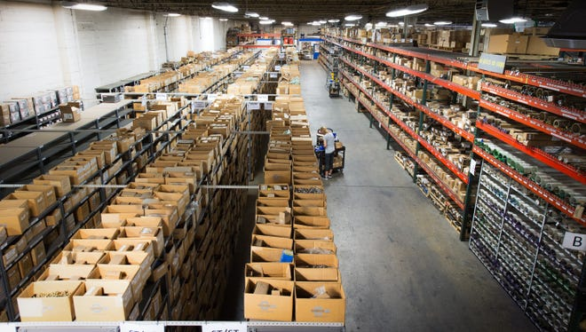 Birdseye view of an order being pulled at Suburban Bolt's 25,000 sq. Foot main warehouse located in Roseville, Michigan.