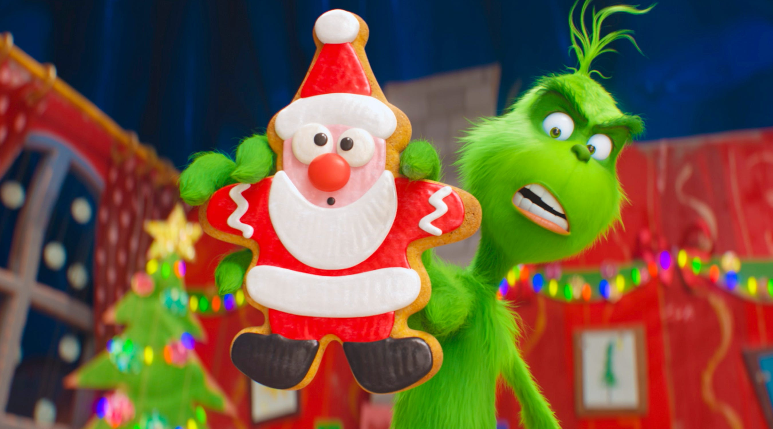 "The Grinch, voiced by Benedict Cumberbatch, is out to wreak holiday havoc on Whoville in ""The Grinch."""