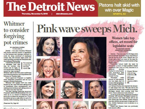 The front page of The Detroit News on Thursday, November 8, 2018