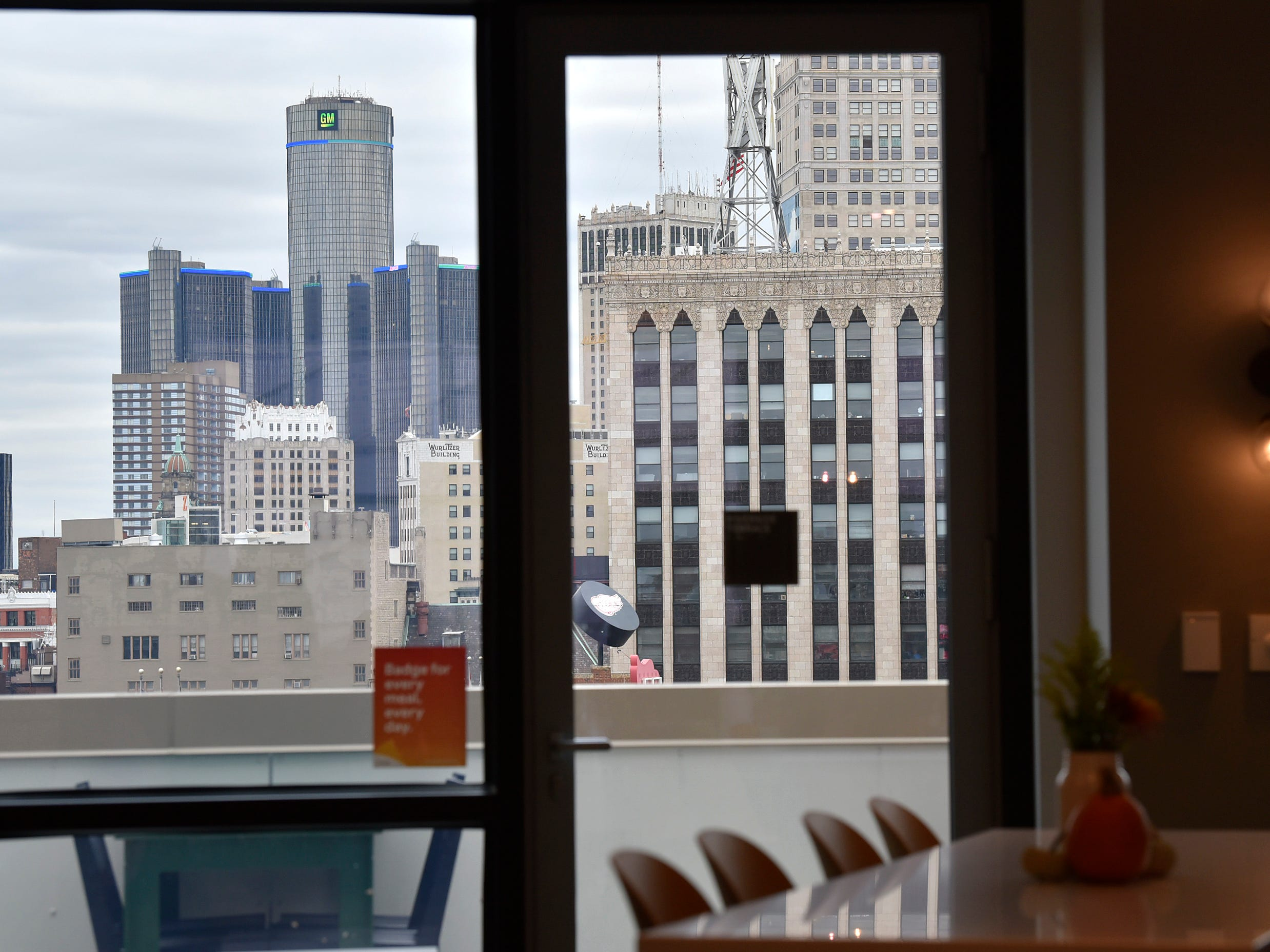 Googlers have a view of the Detroit skyline while working and / or eating in The Lafayette Cafe.