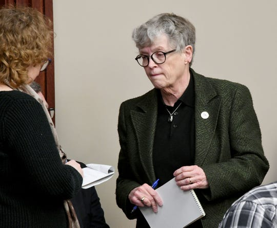 """Lou Anna K. Simon, MSU president arrives in court to hear victims make """"impact statements"""" in front of Judge Rosemarie Aquilina about defendant Larry Nassar, in district court on January 17, 2018, in Lansing."""