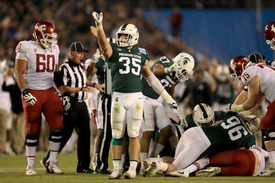 Michigan State's trip to the Holiday Bowl last season marked the first time linebacker Joe Bachie (35) had been to San Diego.