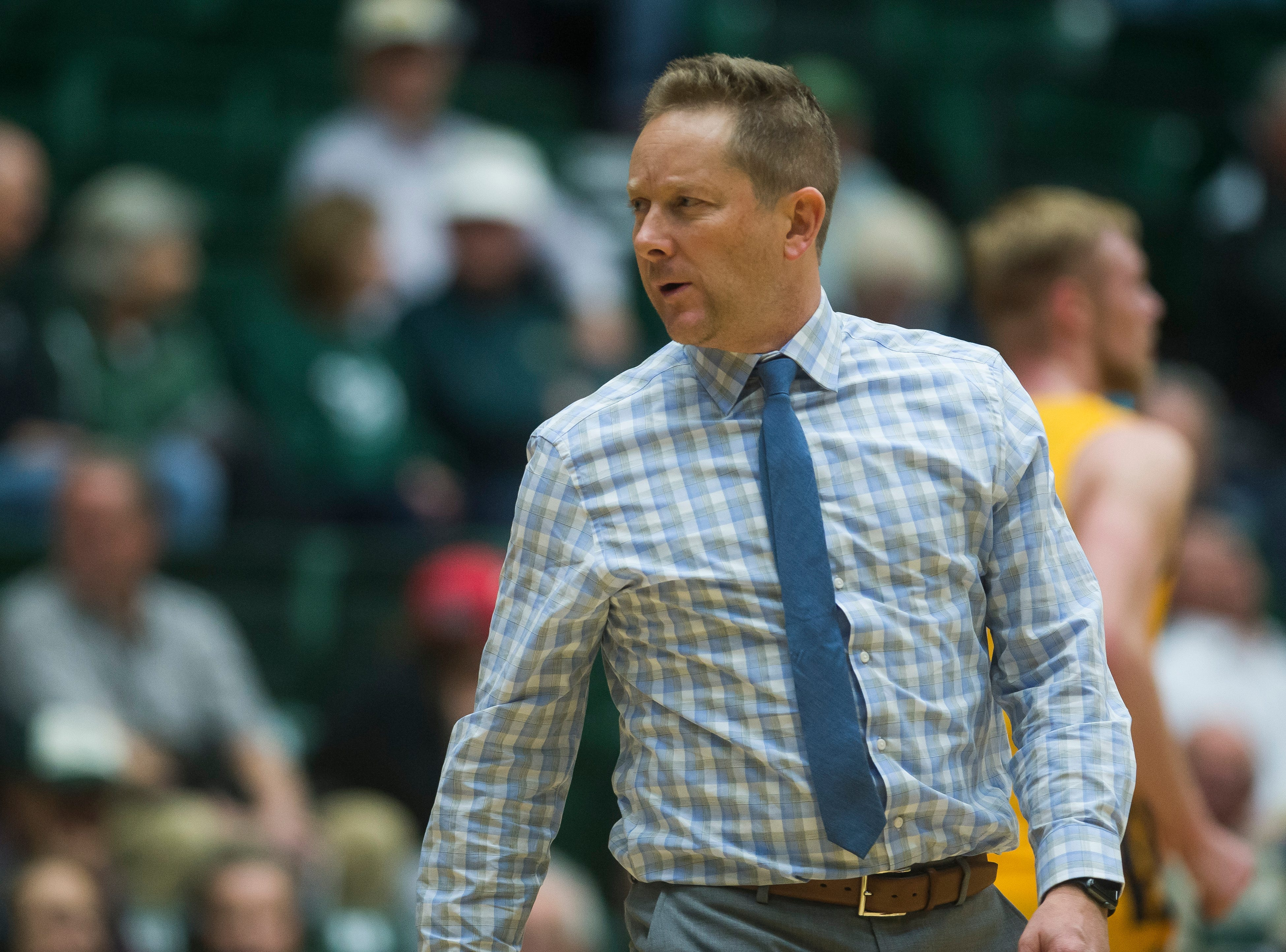 Colorado State University head coach Niko Medved looks on during a timeout during a game against Colorado Christian University on Wednesday, Nov. 7, 2018, at Moby Arena in Fort Collins, Colo.