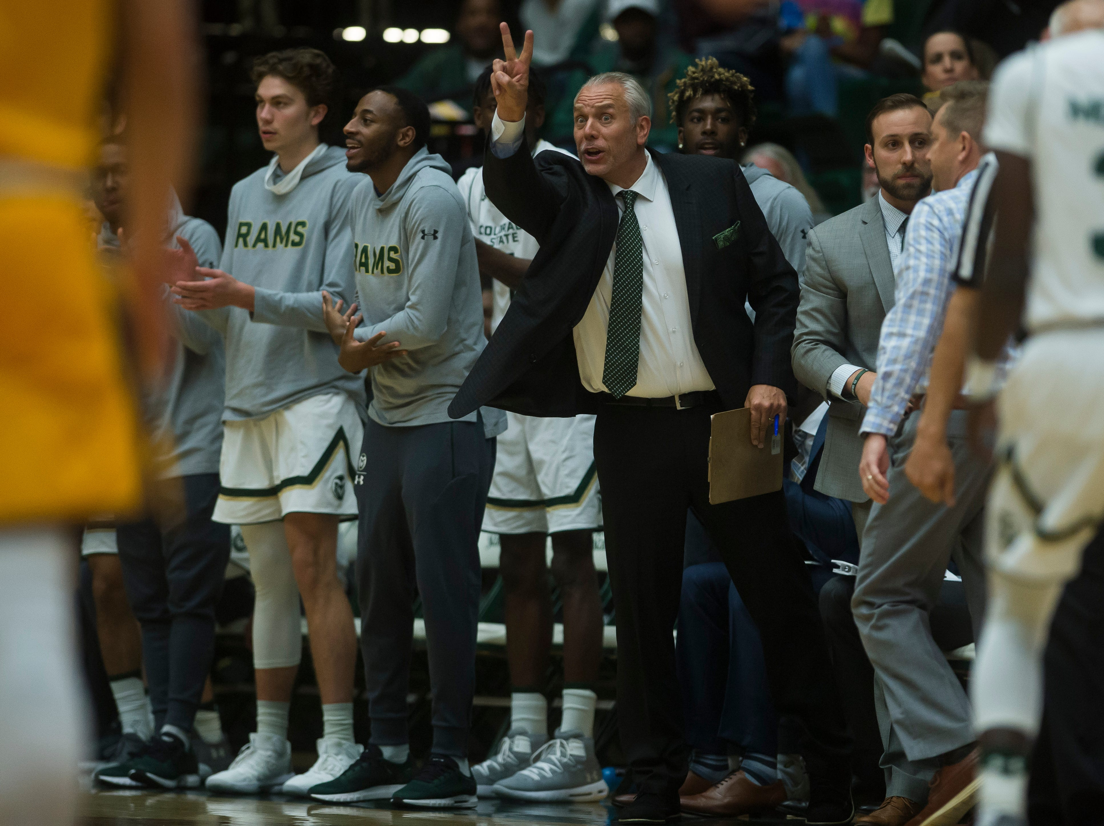 Colorado State University assistant coach Dave Thorson signals to the team during a game against Colorado Christian University on Wednesday, Nov. 7, 2018, at Moby Arena in Fort Collins, Colo.