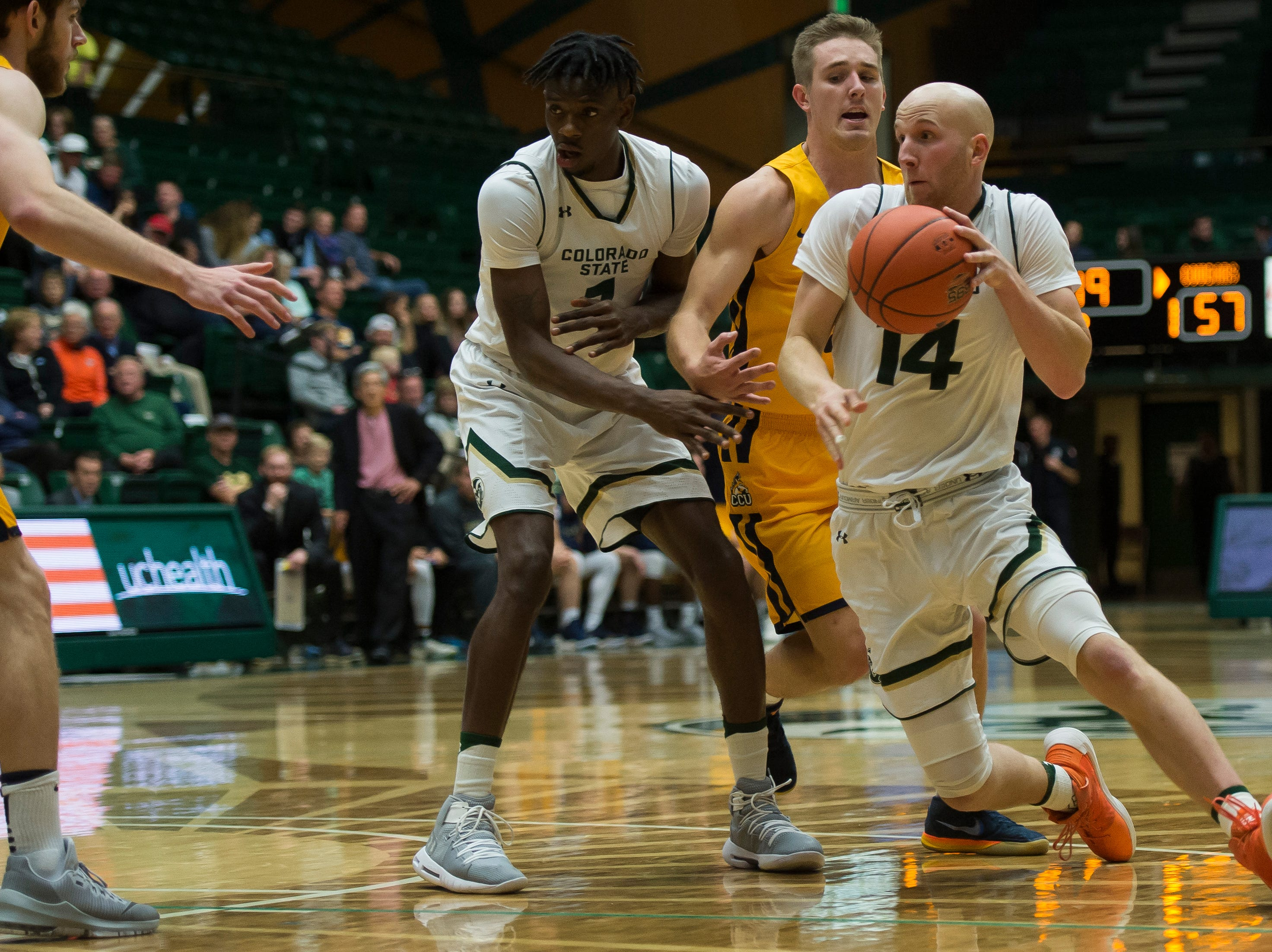 Colorado State University senior guard Robbie Berwick (14) turns the corner during a game against Colorado Christian University on Wednesday, Nov. 7, 2018, at Moby Arena in Fort Collins, Colo.
