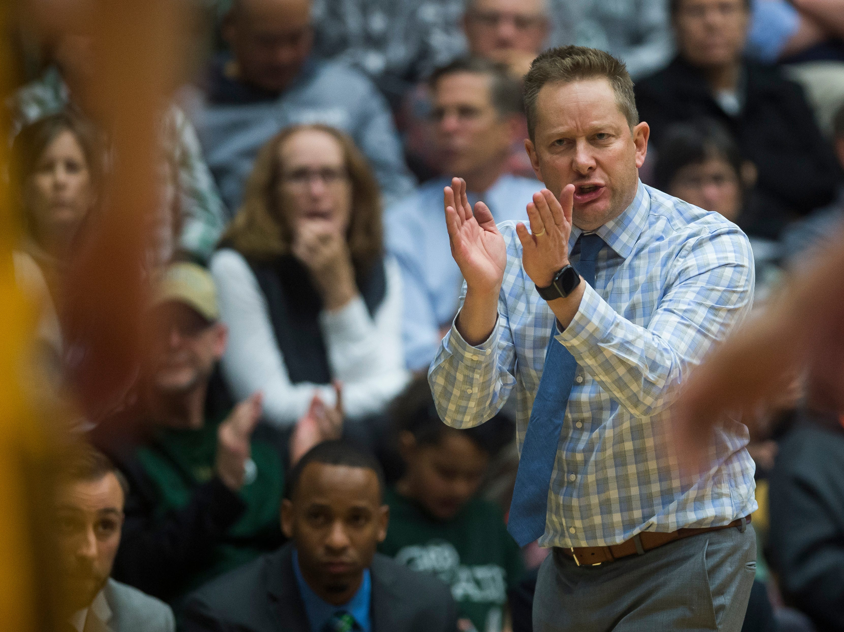 Colorado State University head coach Niko Medved talks to his team during a game against Colorado Christian University on Wednesday, Nov. 7, 2018, at Moby Arena in Fort Collins, Colo.