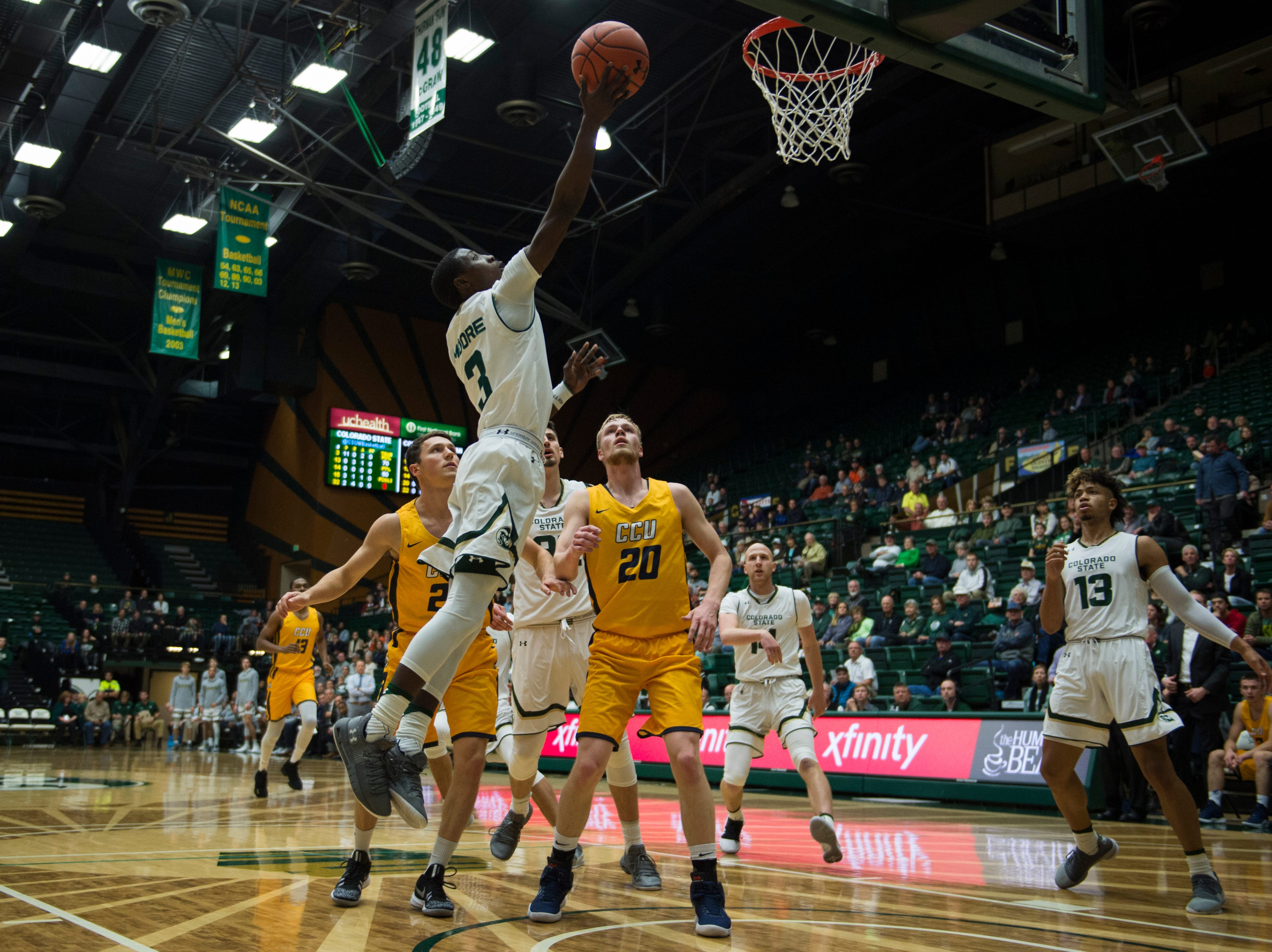 Colorado State University freshman guard Kendle Moore (3) puts a shot up during a game against Colorado Christian University on Wednesday, Nov. 7, 2018, at Moby Arena in Fort Collins, Colo.