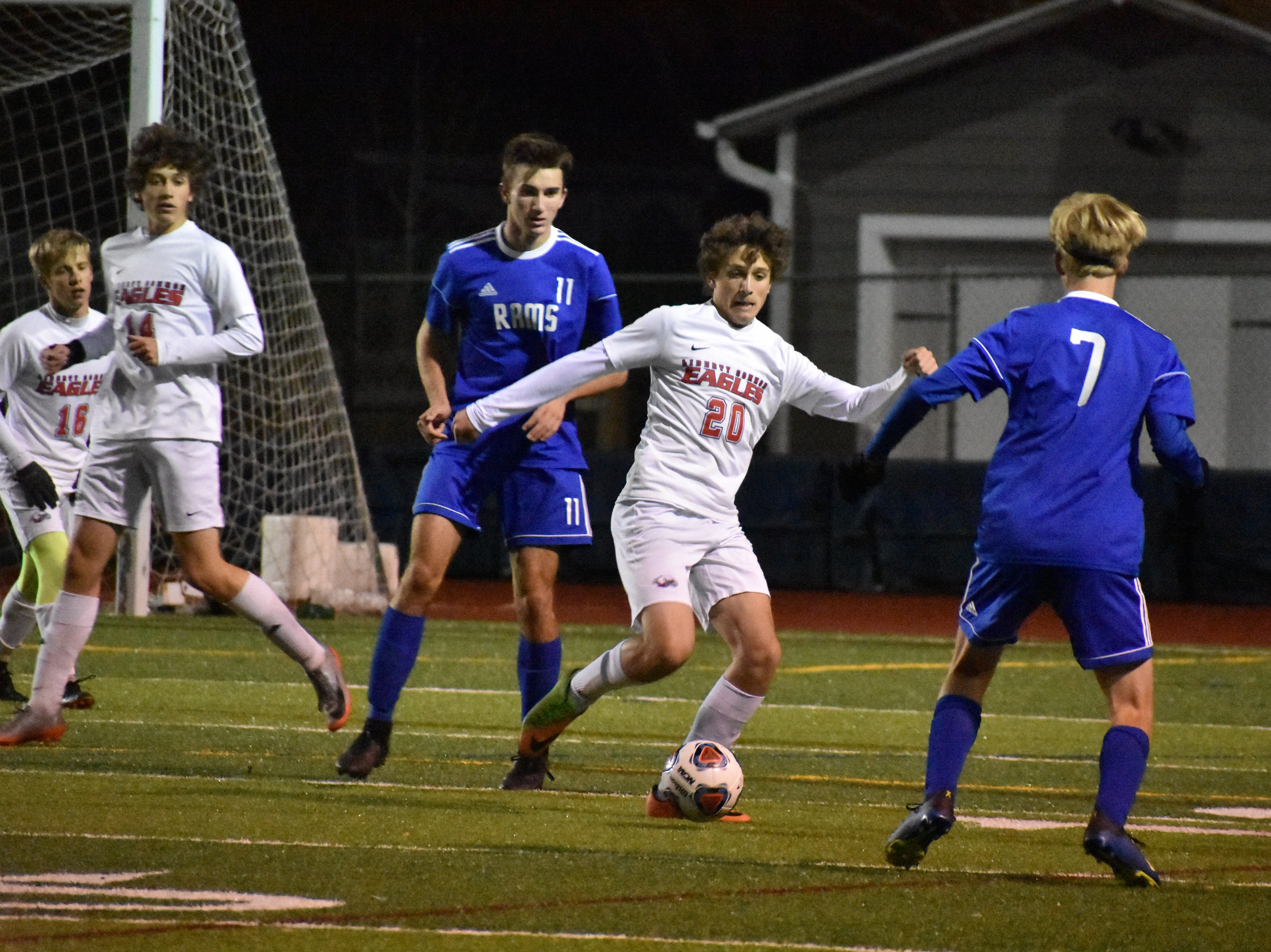Liberty Common's Matt Cullis clears the ball during the Eagles' state semifinal win over Roaring Fork.