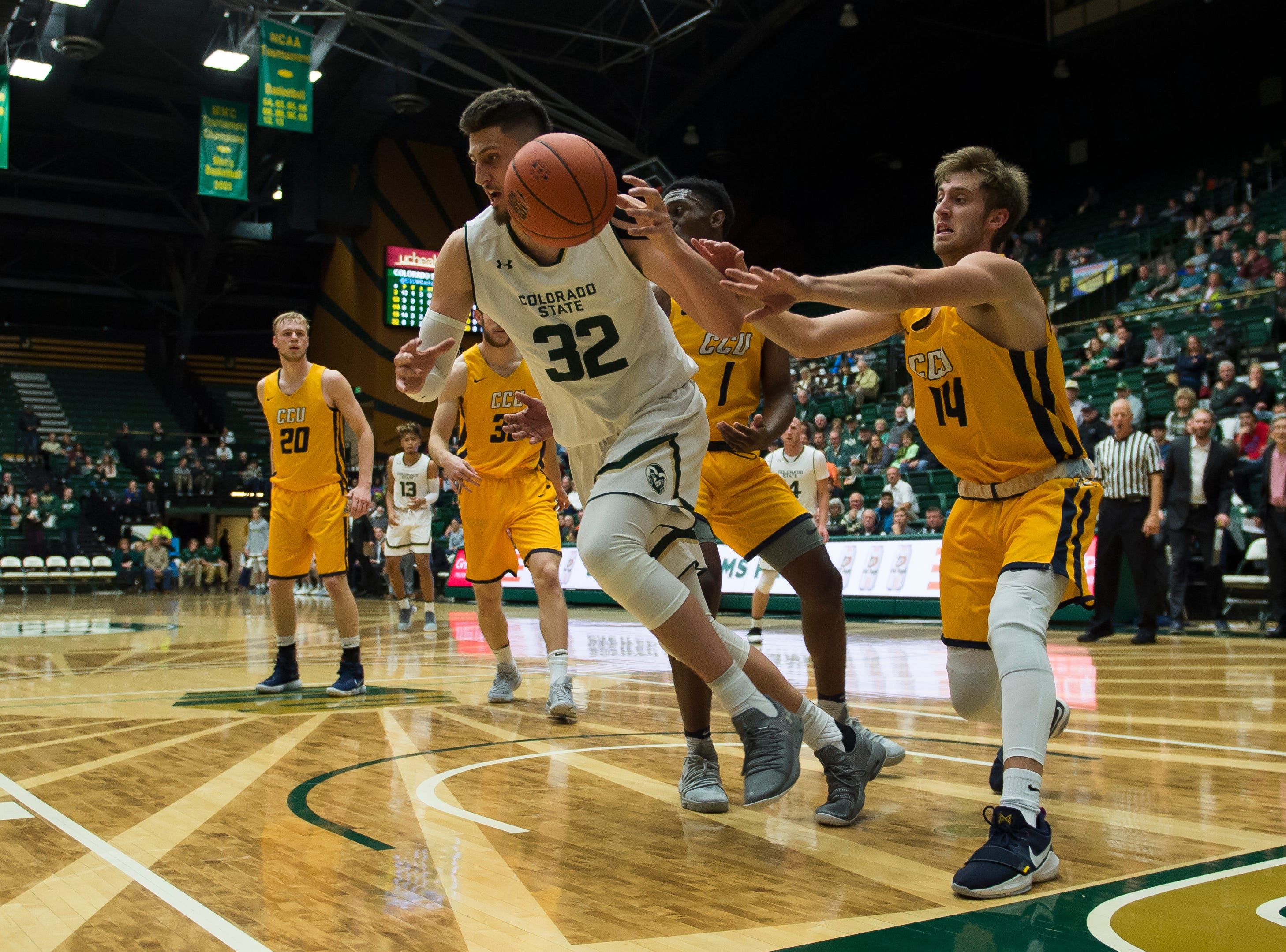 Colorado State University junior center Nico Carvacho (32) positions himself during a game against Colorado Christian University on Wednesday, Nov. 7, 2018, at Moby Arena in Fort Collins, Colo.