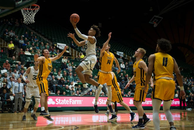 Lorenzo Jenkins, shown driving to the basket during last week's season opener against Colorado Christian, and his CSU men's basketball teammates will host Montana State at 7 p.m. Wednesday at Moby Arena.