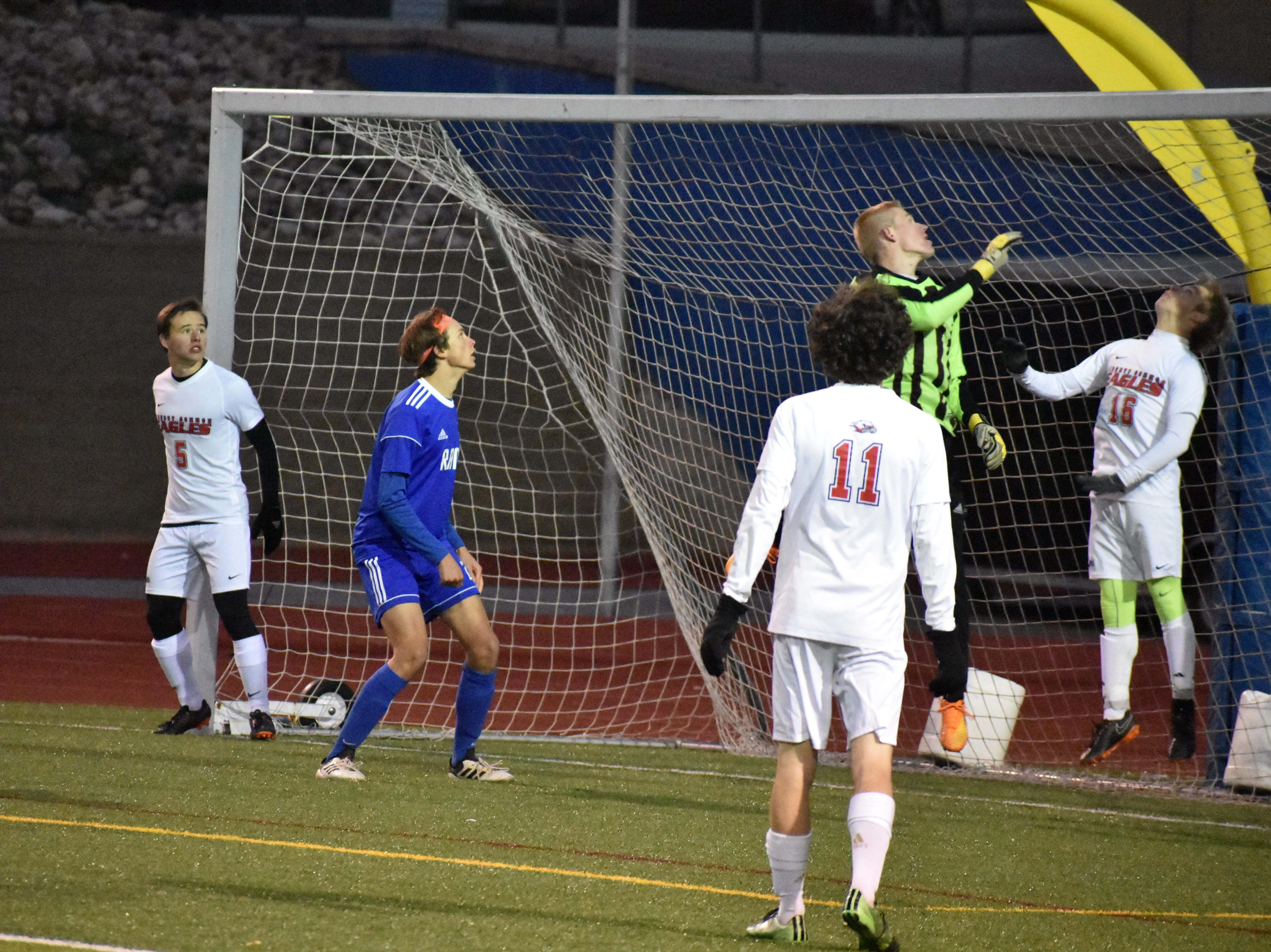 Liberty Common goalie Michael Bradley watches a shot sail over the net during the Eagles' win over Roaring Fork.