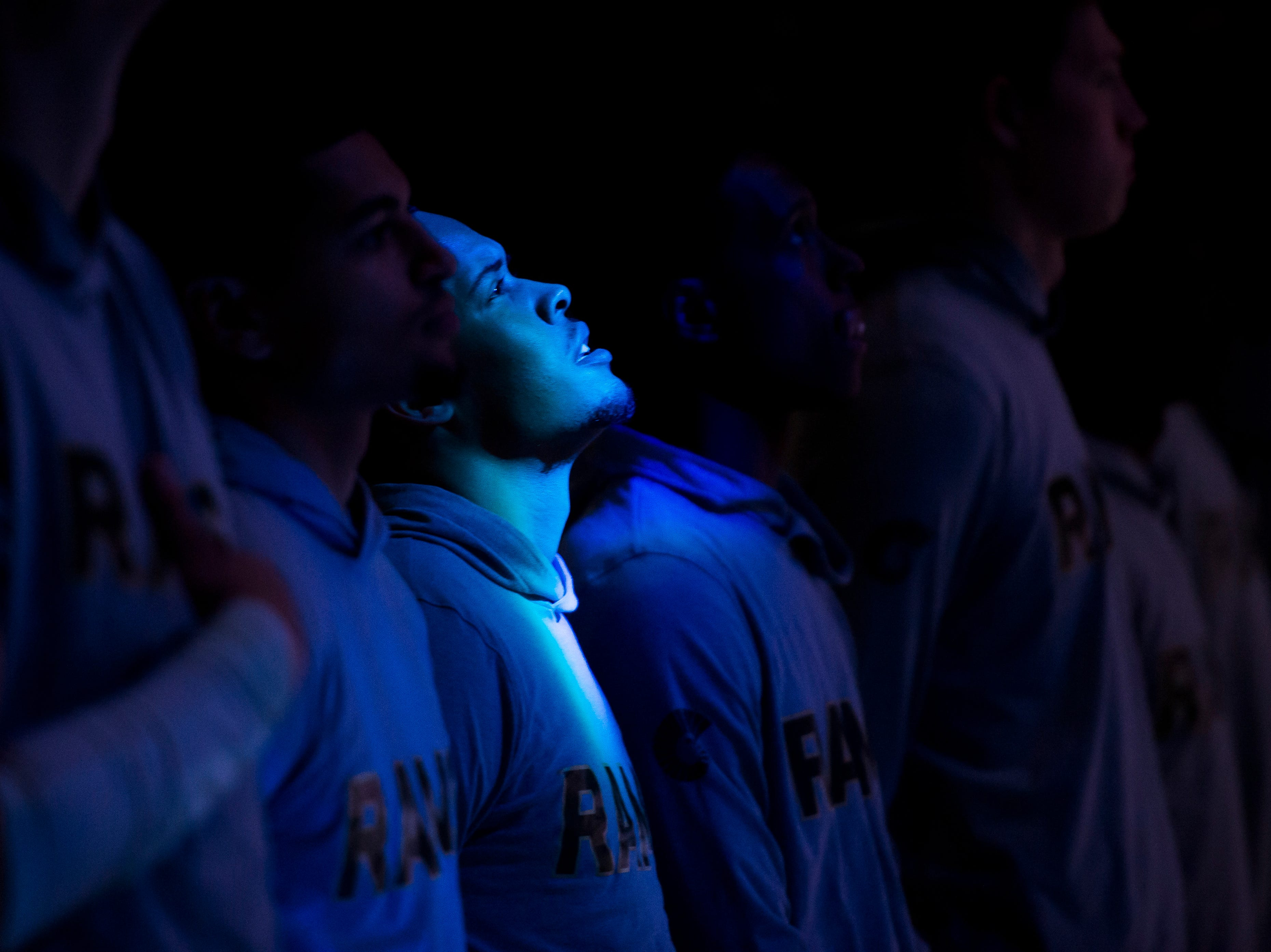 Colorado State University junior guard Juan Sabino II (12) looks up during the national anthem before a game against Colorado Christian University on Wednesday, Nov. 7, 2018, at Moby Arena in Fort Collins, Colo.