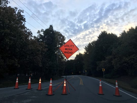 A downed power pole shut down part of Hudson Road in Greenville Thursday morning.