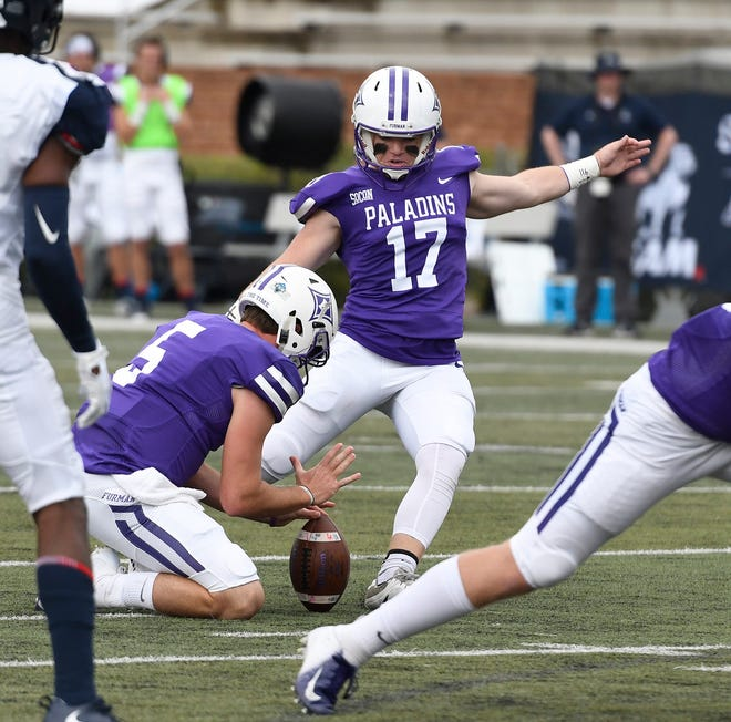 Place kicker Grayson Atkins (17) signed with Furman after playing at Boiling Springs High in Spartanburg County.