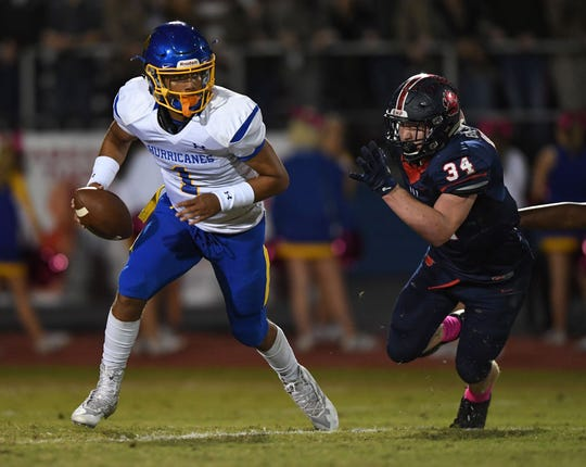 Tyrell Jackson (1), a 6-foot-2, 200-pound senior, will lead the Hurricanes against Greenville Friday in the first round of the Class AAAA playoffs.
