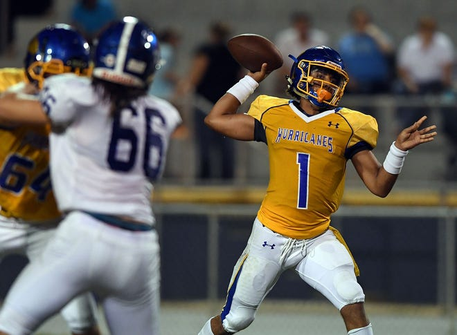 Wren senior quarterback Tyrell Jackson (1), a Mr. Football finalist, has passed for 3,265 yards and a school-record-tying 41 touchdowns this season.