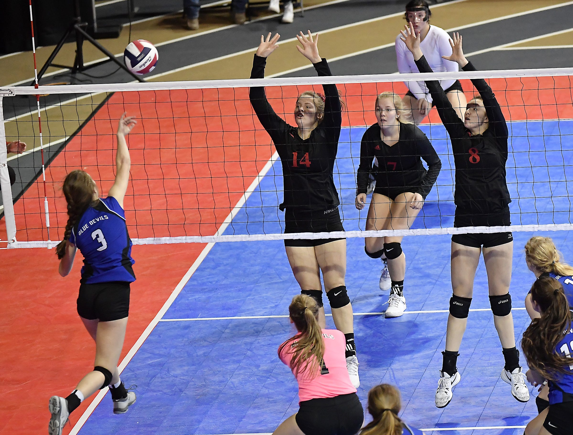 Corvallis takes on Glendive at the All-Class State Volleyball Tournament at the Brick Breeden Fieldhouse in Bozeman.