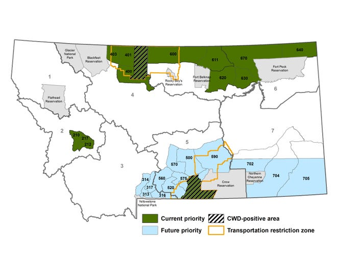 The stripes indicate locations where deer have tested positive for chronic wasting disease. The green indicates where testing of deer is occurring for CWD.