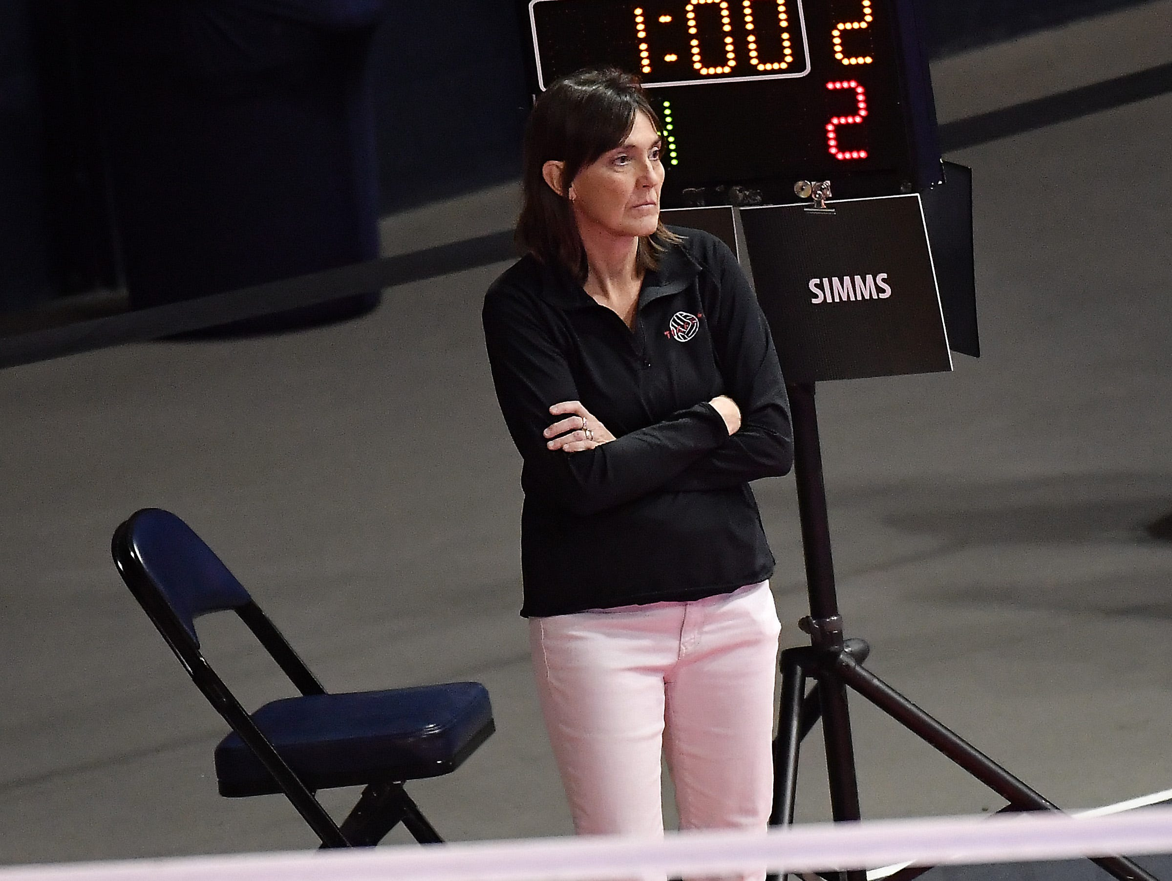Simms head coach Molly Pasma on the sidelines of the Tigers' match with Bridger at the All-Class State Volleyball Tournament at the Brick Breeden Fieldhouse in Bozeman.