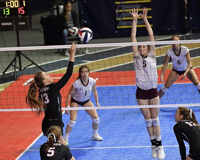 Elyssa Willekes of Simms spikes against Bridger at the All-Class State Volleyball Tournament last November in Bozeman. Willekes has signed with the University of Providence volleyball program.
