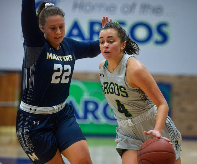 University of Providence's Jenna Randich drives past The Master's University's Brooke Bailey during Thursday's game in the McLaughlin Center.