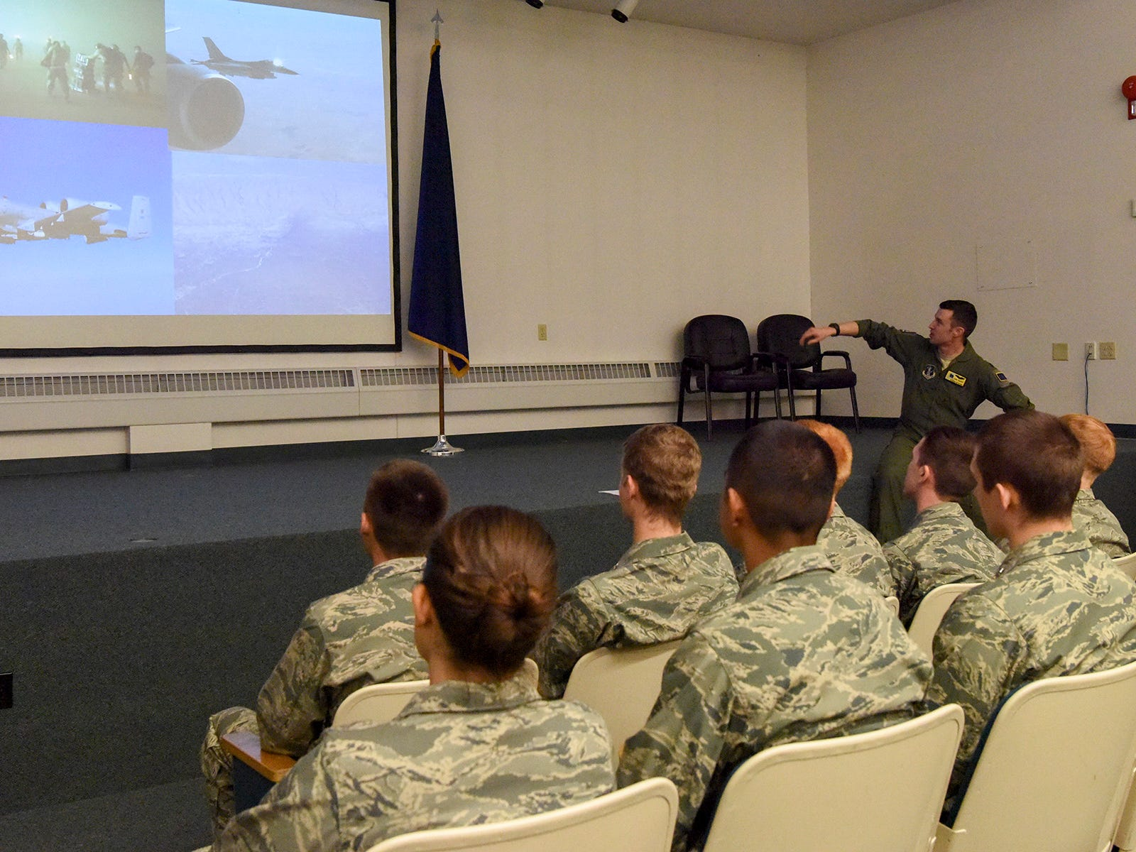 Air Force Junior Reserve Officer Training Corps cadets from North Pole High School, North Pole, Alaska, receive a pre-flight briefing from Capt. John Goeres prior to the cadets incentive flight onboard one of the 168th Wing's KC-135R Stratotankers, May 4, 2017, Eielson AFB, Alaska. The flight was coordinated through the wing's recruiting office and the school's AFJROTC instructor, retired U.S. Air Force Colonel Michael Rauenhorst, and is taking place during joint training exercise NORTHERN EDGE 2017. (U.S. Air National Guard photo by Senior Master Sgt. Paul Mann)